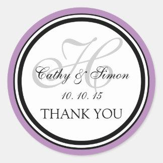 Lilac Gray Monogram H Wedding Thank You Sticker