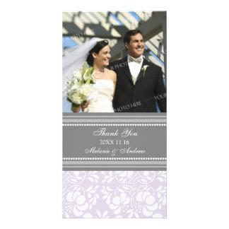 Lilac Gray Thank You Wedding Photo Cards