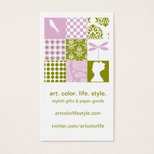 Lilac & Green Patchwork Business Card