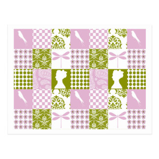 Lilac & Green Patchwork Postcard