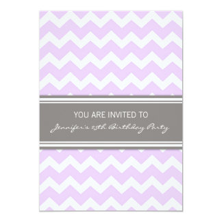 Lilac Grey Chevron 25th Birthday Party Invitations