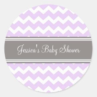 Lilac Grey Chevron Baby Shower Favor Stickers