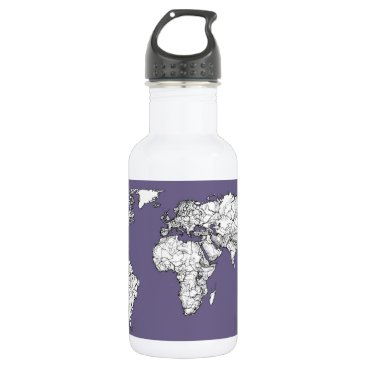 USA Themed Lilac grey earth drawing water bottle
