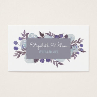 lilac grey label and watercolor flowers business card
