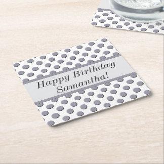 Lilac Grey Polka Dot Pattern Square Paper Coaster