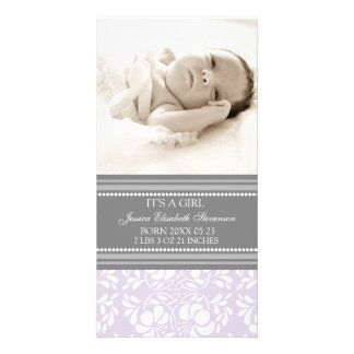 Lilac Grey Template New Baby Birth Announcement Photo Card