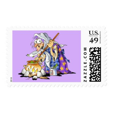 Halloween Themed Lilac Halloween Stamps With Purple Witch