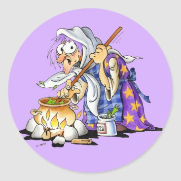 Halloween Themed Lilac Halloween Stickers - Purple Witch