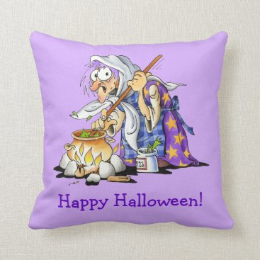 Halloween Themed Lilac Happy Halloween Pillows With Purple Witch
