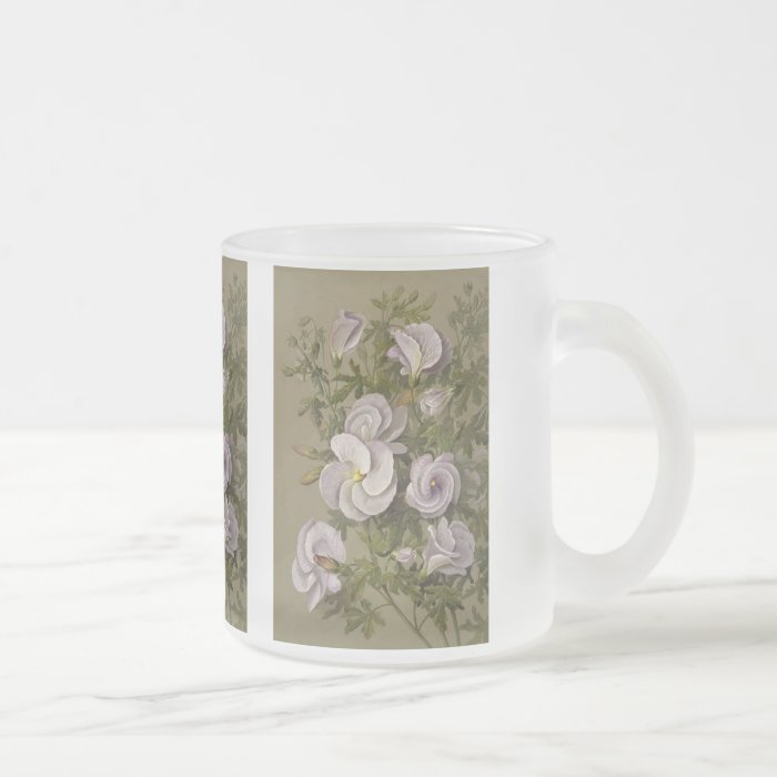 Lilac hibiscus - Vintage art Frosted Glass Coffee Mug