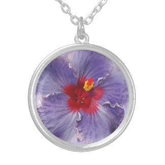 Lilac Hibsicus Bloom Round Pendant Necklace