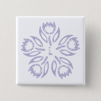 Lilac Initial Tulips Square Button