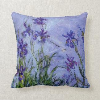 Lilac Irises Claude Monet Fine Art Throw Pillow