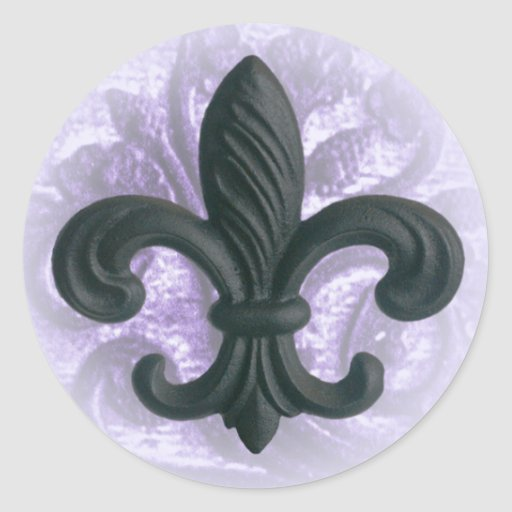"lilac ""iron fleur de lis"" invitation seals classic round sticker"