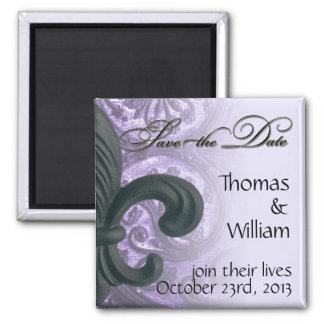 """lilac """"iron fleur de lis"""" SAVE THE DATE - Fr 2 Inch Square Magnet"""