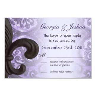 "lilac ""iron fleur de lis"" Wedding RSVP Custom Announcements"