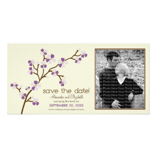Lilac/Ivory Cherry Blossom Save the Date Photocard Picture Card