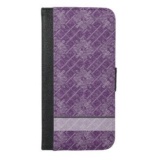 Lilac Jacquard Pattern iPhone 6/6s Plus Wallet Case
