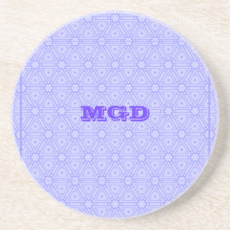 Lilac lace all over pattern monogram coaster