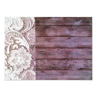 lilac lace barnwood vintage birthday party card