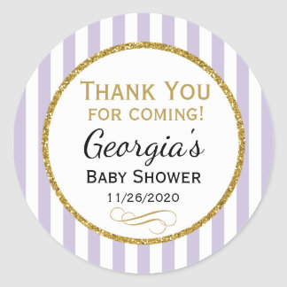 Lilac Lavender Baby Shower Thank You Favor Tag
