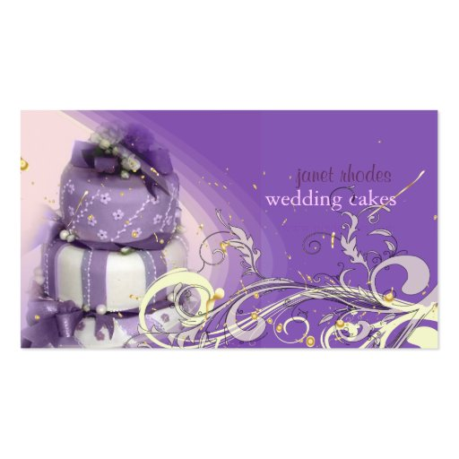 Lilac/lavender/Chocolate cake, bakery Business Card Templates