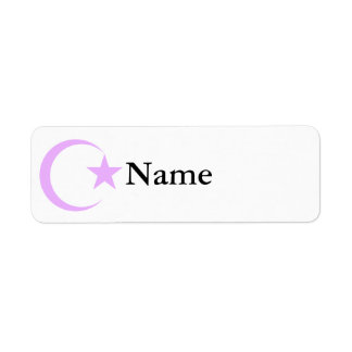 Lilac-Lavender Crescent & Star.png Return Address Label