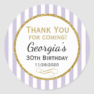 Lilac Lavender Gold Birthday Thank You Favor Tag Classic Round Sticker