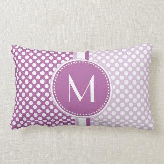 Lilac   Lavender Polka Dots Monogram Throw Pillows