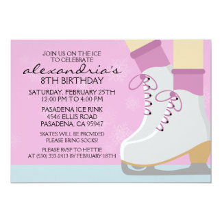 Lilac Light Skin Skate Laces Ice Skating Party Personalized Invitations
