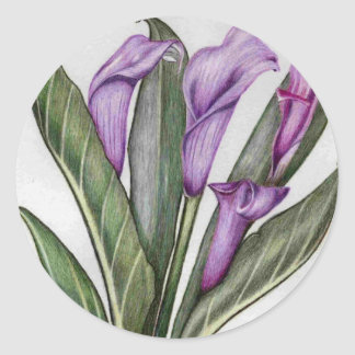 lilac lilies classic round sticker