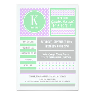 """Lilac & Lime Gender Reveal Party Invitation 5"""" X 7"""" Invitation Card"""
