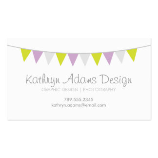 Lilac Lime Green & Gray Modern Bunting Business Card