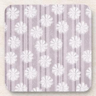 Lilac Linen Stripes Flowers Coaster