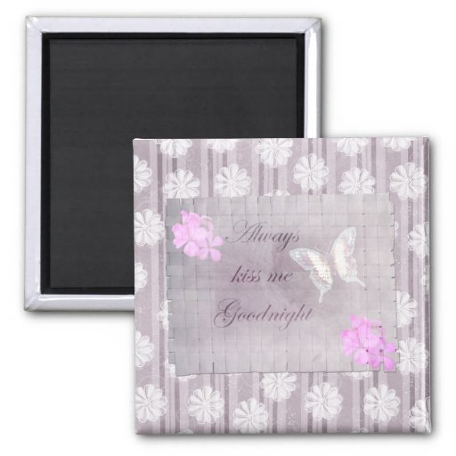 Lilac Linen Stripes Flowers Magnets