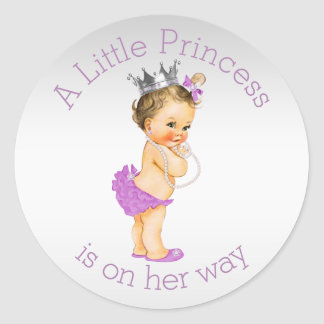 Lilac Little Princess Baby Shower Classic Round Sticker