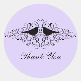 Lilac Love Bird Swirls Thank You Stickers