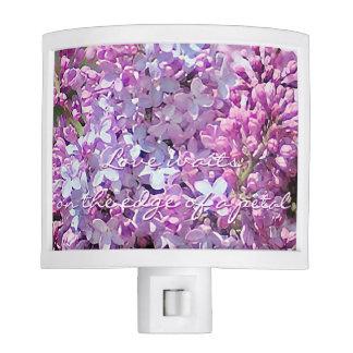 Lilac Love Waits Lavender Pink Flower Night Light