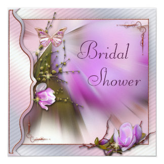 Lilac Magnolia Butterfly Sparkle Bridal Shower Card