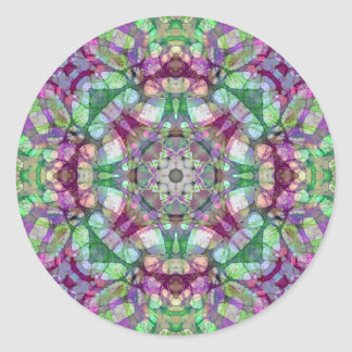 Lilac, Maroon, and Green Lilac Dreams Mandala Classic Round Sticker