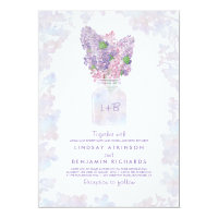 Lilac Mason Jar | Floral Watercolor Rustic Wedding Card