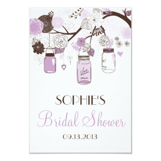 Lilac Mason Jars Bridal Shower Enclosure Card Custom Announcements