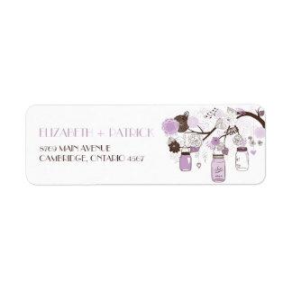Lilac Mason Jars Floral Wedding Address Label