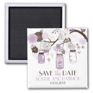 Lilac Mason Jars & Flowers Save the Date Magnet