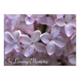 "Lilac Memorial Service Funeral Invitation 5"" X 7"" Invitation Card"