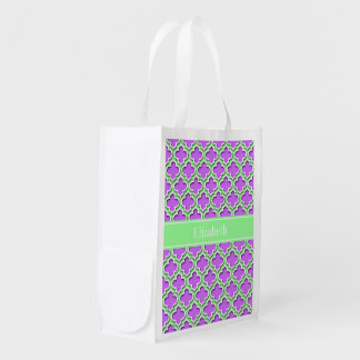 Lilac, Mint Green Moroccan #5DS Mint Name Monogram Market Totes
