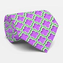Lilac Mint Green White Moroccan Quatrefoil #5DS Tie