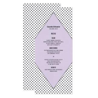 Lilac Modern Polka Dots Wedding Menu Card