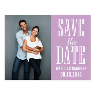 Lilac Modern Typography Save the Date Postcard