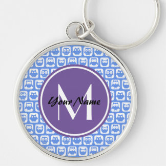Lilac Monogram Blue and White Owl Pattern Keychain